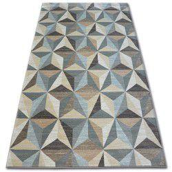 Koberec ARGENT - W6096 trojúhelníky béžový / modrý