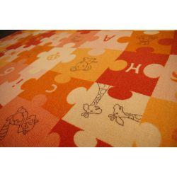 Koberec DĚTSKÝ PUZZLE oranžový