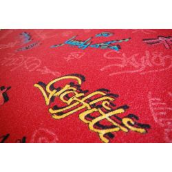 Koberec DĚTSKÝ GRAFFITI červený