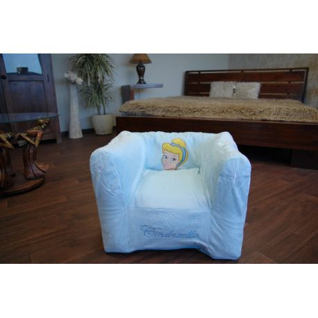 Nafukovací pouf židle pro deti DISNEY CINDRELLA modrý