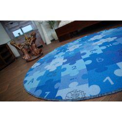 Koberec kruh PUZZLE modrý