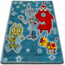 Koberec KIDS Roboty modrý C419
